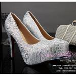 X-001 ขายรองเท้าเจ้าสาว รองเท้าแต่งงาน สวยหรู ดูดีราคาถูกกว่าเช่า สีเงิน