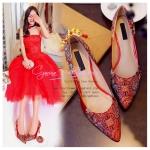 X-007 รองเท้าออกงาน ราคาถูก ใส่ไปงานแต่งงานกลางคืน ไปงานแต่งงานกลางวัน สวย หรู น่ารักมาก สีแดง เหมาะกับยกน้ำชา