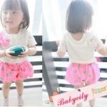 BabyCityเสื้อลูกไม้พร้อมกางเกงขาพองรุ่นโบว์สีชมพู