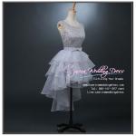 Z-0215 ชุดไปงานแต่งงานน่ารัก แนววินเทจหวานๆ สวย งามสง่า ราคาถูก ผ้าลูกไม้ สีเทา แขนกุด หน้าสั้นหลังยาว