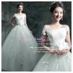 wm5059 ชุดแต่งงานแนวเจ้าหญิง ชุดเจ้าสาวโชว์ไหล่ สวยหวานหรู ราคาถูกกว่าเช่า