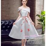 Z-0196 ชุดไปงานแต่งงานน่ารัก แนววินเทจหวานๆ สวย งามสง่า ราคาถูก สีเทาไหล่ปาด
