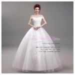 wm5046 ชุดแต่งงาน เปิดไหล่ ผ้าลูกไม้ ด้านหลังเป็นเชือก กระโปรงพองฟูแบบเจ้าหญิง สวยที่สุดในโลก ราคาถูกกว่าเช่า