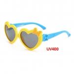 แว่นตาเด็กกันแดดซิลิโคนหัวใจ สีเหลือง