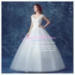wm5114 ขาย ชุดแต่งงาน เจ้าหญิงเรียบหรู แบบคอวี ใส่ถ่ายพรีเวดดิ้ง สวยหรู ดูดีที่สุดในโลก ราคาถูกกว่าเช่า