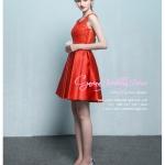 Z-0331 ชุดไปงานแต่งงานน่ารัก แนววินเทจหวานๆ สวย งามสง่า ราคาถูก สีแดง แขนกุด