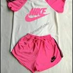 เสื้อแขนสั้น กางเกงขาสั้นสีชมพู