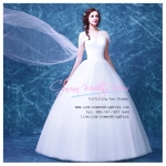wm5089 ขาย ชุดแต่งงานแขนสั้น คัตติ้งรูปหัวใจ สไบลากยาว สวย เก๋ ดูดีแบบเจ้าหญิง ราคาถูกกว่าเช่า