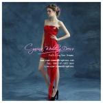 Q-0179 พร้อมส่ง ชุดไปงานแต่งงานน่ารัก สีแดง สวย หรู เซ็กซี่