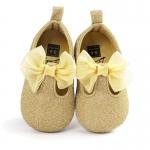 รองเท้าเด็กหญิงสีทองติดโบว์ Baby Fashion Shoes