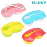 ชามป้อนอาหารเด็กช่องแบ่งแบบมีฝาปิด Nanny Feeding Bowl with Lid and Spoon