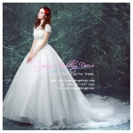 wm5092 ขาย ชุดแต่งงานแขนสั้น กระโปรงลากยาว แบบเจ้าหญิง สวยที่สุดในโลก ราคาถูกกว่าเช่า
