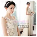 wm40007 ชุดแต่งงาน ไหล่เดี่ยว แบบลากยาว สวยเก๋สไตล์ ดารา เกาหลี ขายราคาถูก