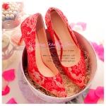 X-002 ขาย รองเท้าออกงาน ราคาถูก ใส่ไปงานแต่งงานกลางคืน ไปงานแต่งงานกลางวัน สวย หรู น่ารักมาก สีแดง เหมาะกับยกน้ำชา