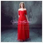 L-0121 ชุดไปงานแต่งงาน ชุดราตรียาว สีแดง เปิดไหล่ ใส่ไปงานแต่งงานกลางคืน สวย หรู ราคาถูกกว่าเช่า