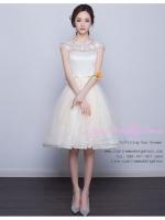 Z-0051 ชุดไปงานแต่งงานน่ารัก แขนกุด สุดหรู สวย เก๋น่ารัก ราคาถูก สีครีม ชุดหมั้น