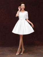 Z-0206 ชุดไปงานแต่งงานน่ารัก แนววินเทจหวานๆ สวย งามสง่า ราคาถูก มีแขน ลูกไม้ สีขาว