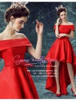 H-0001 ชุดไปงานแต่งงานน่ารัก ไหล่ปาด หน้าสั้นหลังยาว สุดหรู สวย เก๋น่ารัก ราคาถูก สวยหวานทุกมุมมอง สีแดง