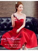 Z-0199 ชุดไปงานแต่งงานน่ารัก แนววินเทจหวานๆ สวย งามสง่า ราคาถูก สีแดง