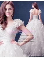 wm5120 ขาย ชุดแต่งงาน เจ้าหญิงเรียบหรู ธีมดอกไม้ ใส่ถ่ายพรีเวดดิ้ง สวยหรู ดูดีที่สุดในโลก ราคาถูกกว่าเช่า