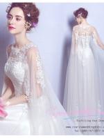 K-0162 ขาย ชุดแต่งงาน เจ้าหญิงเรียบหรู คอวี แขนกุด ใส่ถ่ายพรีเวดดิ้ง สวยหรู ดูดีที่สุดในโลก ราคาถูกกว่าเช่า