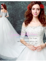 wm5112 ขาย ชุดแต่งงาน เจ้าหญิงเรียบ แบบมีแขน เปิดไหล่ ใส่ถ่ายพรีเวดดิ้ง สวยหรู ดูดีที่สุดในโลก ราคาถูกกว่าเช่า