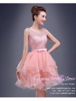 Z-0218 ชุดไปงานแต่งงานน่ารัก แนววินเทจหวานๆ สวย งามสง่า ราคาถูก ผ้าลูกไม้ สีชมพู แขนกุด
