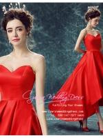 H-0002 ชุดไปงานแต่งงานน่ารัก ไหล่ปาด หน้าสั้นหลังยาว สุดหรู สวย เก๋น่ารัก ราคาถูก สวยหวานทุกมุมมอง สีแดง