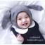 หมวกไหมพรมเด็กกระต่ายหูยาวสีเทา thumbnail 4