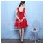 Z-0089 ชุดไปงานแต่งงานน่ารัก แนววินเทจหวานๆ สวย เก๋น่ารัก ราคาถูก สีแดง แขนกุด คอวี thumbnail 3