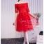 Z-0086 ชุดไปงานแต่งงานน่ารัก ลูกไม้ สุดหรู สวย เก๋น่ารัก ราคาถูก สีแดง thumbnail 1