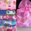 ผ้าห่มสำลีเนื้อดีแพคถุงผ้าไหมไทยพร้อมโบว์ป้ายชื่อ