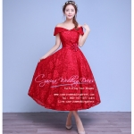Z-0060 ชุดไปงานแต่งงานน่ารัก ไหล่ปาด ผ้าลูกไม้ สุดหรู สวย เก๋น่ารัก ราคาถูก สีแดง