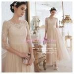 Q-0172 พร้อมส่ง ชุดไปงานแต่งงาน วินเทจ สีแชมเปญ ผ้าลูกไม้ สวยหวาน น่ารัก