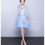 Z-0326 ชุดไปงานแต่งงานน่ารัก แนววินเทจหวานๆ สวย งามสง่า ราคาถูก สีฟ้า แขนยาว