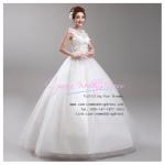 wm5037 ขาย ชุดแต่งงาน ราคาถูก ชุดเจ้าสาวแขนกุด ชุดแต่งงานสีขาว สวย หรู