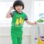 ชุดลายแมวเหมียวน้อย สีเขียว เสื้อ+กางเกง ไซส์ งานสวยค่ะ งานเกาหลีนะค่ะ 120