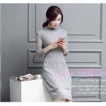Z-0185 ชุดไปงานแต่งงานน่ารัก แนววินเทจหวานๆ สวย เก๋น่ารัก ราคาถูก สีเทา แขนยาว