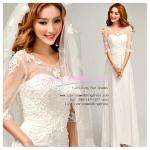 wm5035 ขาย ชุดเจ้าสาวแขนยาว ชุดแต่งงานสีขาว ซีทรู สวย หรู