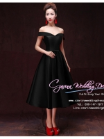 Z-0201 ชุดไปงานแต่งงานน่ารัก แนววินเทจหวานๆ สวย งามสง่า ราคาถูก ชุดดำ ไหล่ปาด