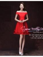 Z-0296 ชุดไปงานแต่งงานน่ารัก แนววินเทจหวานๆ สวย เก๋น่ารัก ราคาถูก สีแดง ไหล่ปาดตรง พร้อมส่ง