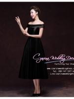 Z-0203 ชุดไปงานแต่งงานน่ารัก แนววินเทจหวานๆ สวย งามสง่า ราคาถูก ชุดดำ ไหล่ปาด