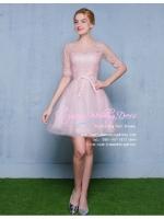 Z-03276 ชุดไปงานแต่งงานน่ารัก แนววินเทจหวานๆ สวย งามสง่า ราคาถูก สีชมพู แขนยาว