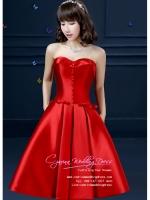 Z-0054 ชุดไปงานแต่งงานน่ารัก เกาะอก สุดหรู สวย เก๋น่ารัก ราคาถูก สีแดง