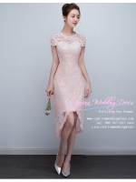 Z-0317 ชุดไปงานแต่งงานน่ารัก แนววินเทจหวานๆ สวย งามสง่า ราคาถูก สีชมพูกลีบบัว เข้ารูป หน้าสั้นหลังยาว
