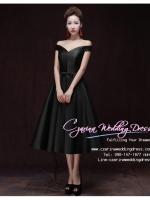Z-0205 ชุดไปงานแต่งงานน่ารัก แนววินเทจหวานๆ สวย งามสง่า ราคาถูก ชุดดำ ไหล่ปาด