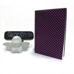 """ปกผ้าพื้นม่วง ลายPolka Dot เนื้อผ้าคอตต้อน ขนาด 7"""" ( Pocket Book )"""