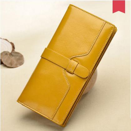 กระเป๋าสตางค์ผู้หญิง Difenise No.6 (หนังแท้) สีเหลือง