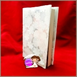 """ปกผ้าสีขาวผ้าป่านลายดอก เนื้อผ้าคอตต้อน ขนาด 8"""" ( Pocket Book )"""