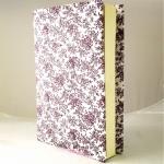 """ปกผ้าพื้นขาว ลายดอกม่วง เนื้อผ้าคอตต้อน ขนาด 8"""" ( Pocket Book )"""